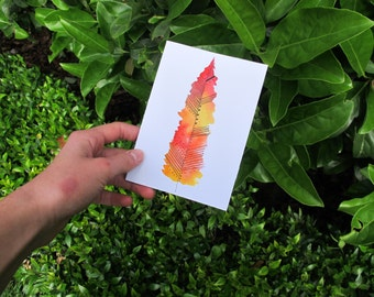 Orange Feather Watercolour Card, Watercolour Card Print, Orange And White Illustration, Orange, Yellow And Red