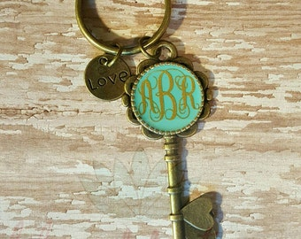 Gold, Monogrammable, Skeleton Key Keychain