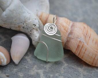 Aqua wrapped swirl seaglass