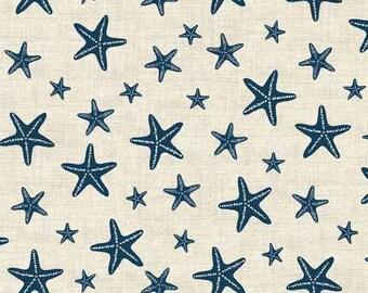 Starfish Fabric | Blue and White Star Fabric | Ocean | Stars | Nautical Print | Beach Decor | Sea