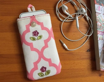 """Smartphone pouch """"Two Flowers"""" 14 x 7.5 cm soft inside - smartphone case, smartphone cover or smartphone sleeve"""