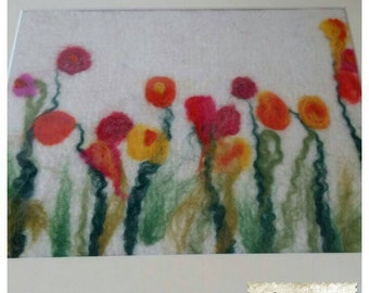 Felt Art- Floral Brights- Wet Felted Fibre Art Piece