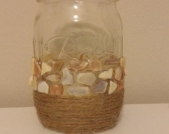 Rope and Crushed Shell Mason Jar Candle Holder