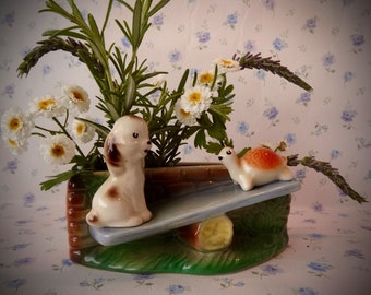 Hornsea Dog and Tortoise On Seesaw 1959 Posy Dish 'Playtime series'
