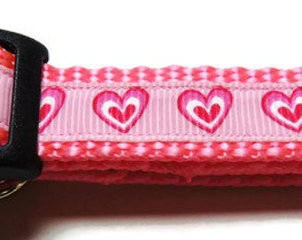 X-Small Pink Hearts Dog Collar