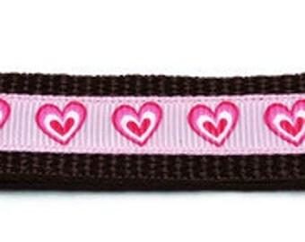 Medium Pink Hearts Dog Collar