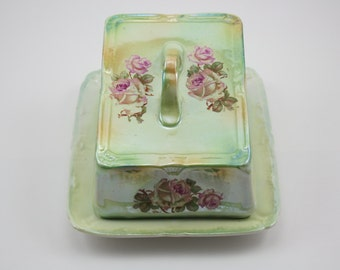 Vintage Franz Anton Mehlem Green and Floral Covered Cheese Dish