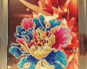 Beautiful 5D diamond painting of a colorful flower