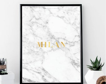 Marble Milan Faux Gold Foil Print // Minimalist Poster // Wall Art // Typography // Fashion // Scandinavian Poster // Boho // Modern Office