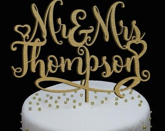 Personalized MR&MRS Wedding Cake Topper, Wedding Cake Decor, mr mrs topper - Wedding Gift, Classic Gold Cake