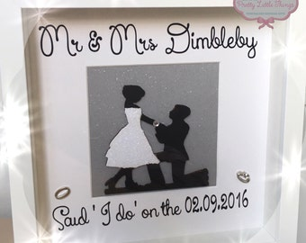 Handmade personalises wedding frame