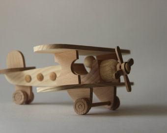 """Wooden airplane toy """"BIPLANE"""" ,children toy, eco friendly toy, wooden toy airplane, push toy,"""