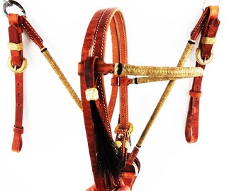 Rawhide Western Horse Trail Cowboy Leather Bridle Headstall Breast Collar Tack