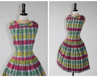 Vibrant Vintage 1950s Checked Dress