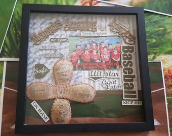 End of the season coaches gift.  A shadow box of memories of an unforgettable season
