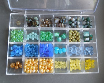 Mixed Lot - Primary and Secondary Colors - Blues, Yellows, Greens, Olive - Gemstones, Pearls, and Czech Glass Beads