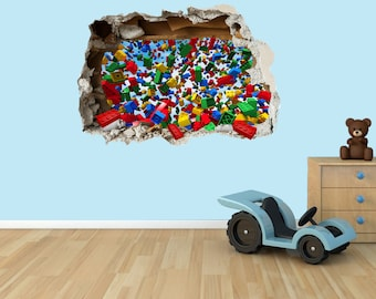 Lego Bricks 3D Effect Graphic Wall Vinyl Sticker Decal