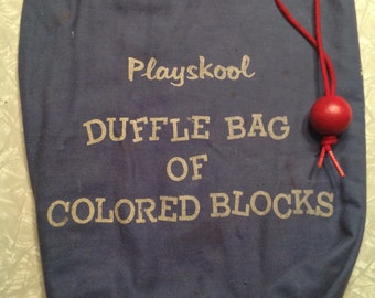 1960's Playskool Bag of Colored Blocks Contains 72 Blocks