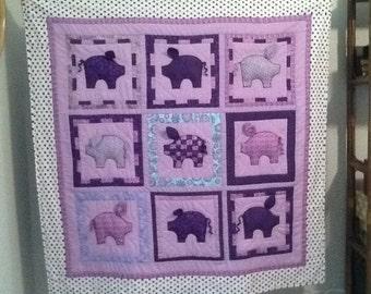 Purple Patchwork Piggy Quilt