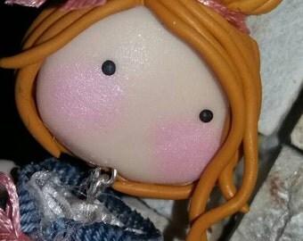 ROCK blonde doll necklace