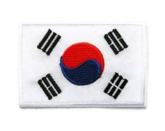South Korea Flag Embroidered Applique Iron on Patch 7.1 cm. x 4.7 cm.