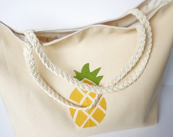 Pineapple Tote with Braided Handles