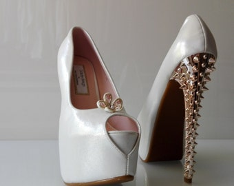 "Peep toes ""AngelA"" Soutache Sutasz bride Pana młoda bridal wedding Ślub wedding White Biały white pearls Perełki Pearl Bridal Shoes"