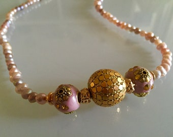 Gold and Rose Bauble Necklace