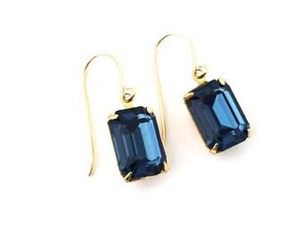 Deep blue earrings, blue crystal drops, anniversary gift, gold navy earrings, something blue, baguette earrings, for wife, Australian seller