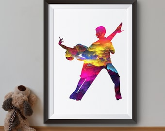 Colorful Dancers Art Print - Dance Poster - Art Illustration - Wall Art - Home Decor