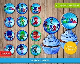 Pj Masks Cupcake Toppers - Printable 2 inches toppers, decoration, favors - JPG INSTANT DOWNLOAD