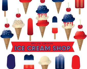 Red White & Blue Ice cream clipart