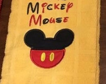 "Disney Mickey Kitchen Towel -Embroidered design-     17 1/2 "" x 28"""