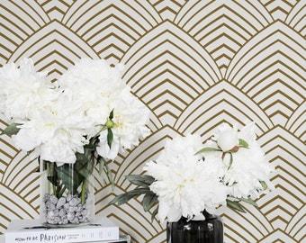 Removable Art Deco Wallpaper / Self Adhesive / Regular Geometric Wallpaper / Minimal Wall Mural