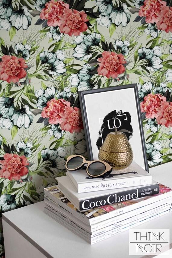 flower wallpaper floral removable wallpaper flower wall