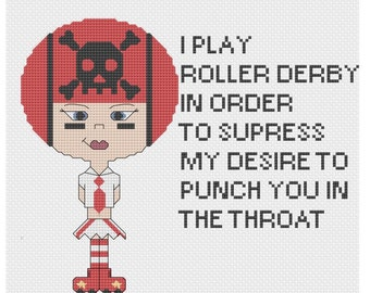 Roller Derby Girl Cross Stitch PDF Pattern Rollerskates