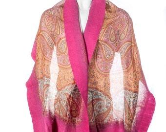 Handmade felted silk scarf shawl wrap - pink orange