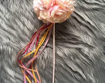 Pink Flower Girl Wand / Wedding Accessory / Fairy Wand / Silk / Faux Flower Wand / Fake Flowers / Junior Bridesmaid / Rose Ball