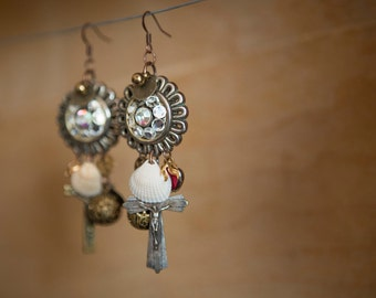 Beautiful earrings with religious charm and rhinestone vintage and shell.
