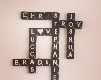 Personalized Wall Decor. Scrabble family names or family motto
