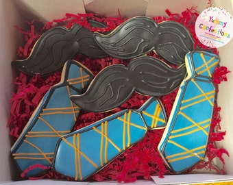Father's Day Cookies; Fathers day gift; Father's day; Mustache; Fathers Day Ties; Ties; Tie Cookies - 1 Dozen (12 Cookies)