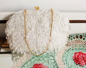 Vintage White Chandelier Crystal Beaded Clutch Evening Bag Purse *Wedding* Empire Made