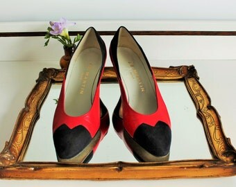Vintage J B Martin Paris Red Leather Black Suede Panel Heels Shoes Size UK 5  EU 38 US 7