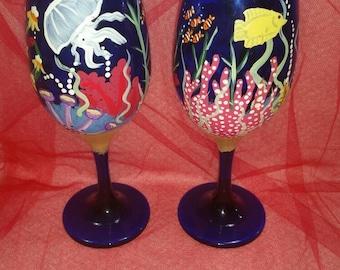 Fish Aquarium hand painted wine glass set