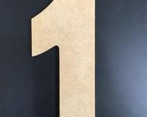 """Unfinished Wood Numbers - 1/4"""" MDF - Aharoni font"""