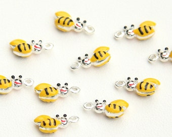 Honey Bee Charms, Glazed Charms, Sterling Silver 925, Italian Handmade Fashion, Funny Charms, Lucky Charms, Jewelry Supplies, Pendent 9985