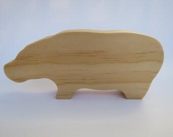 Wooden hippopotamus
