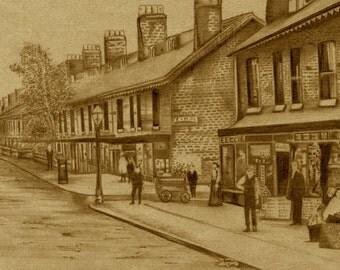 Pencil drawing, Edwardian street scene, print