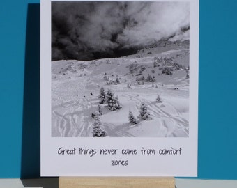 "Retro polaroid ski print ""Great things never came from comfort zones"""