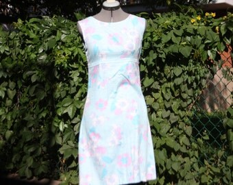 Blue and pink A-line cotton dress
